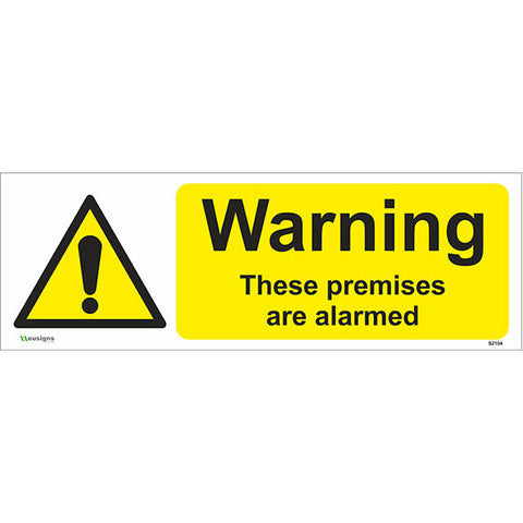 Warning These Premises Are Alarmed Sign - Safety Signs & Stickers | Borehamwood Signs