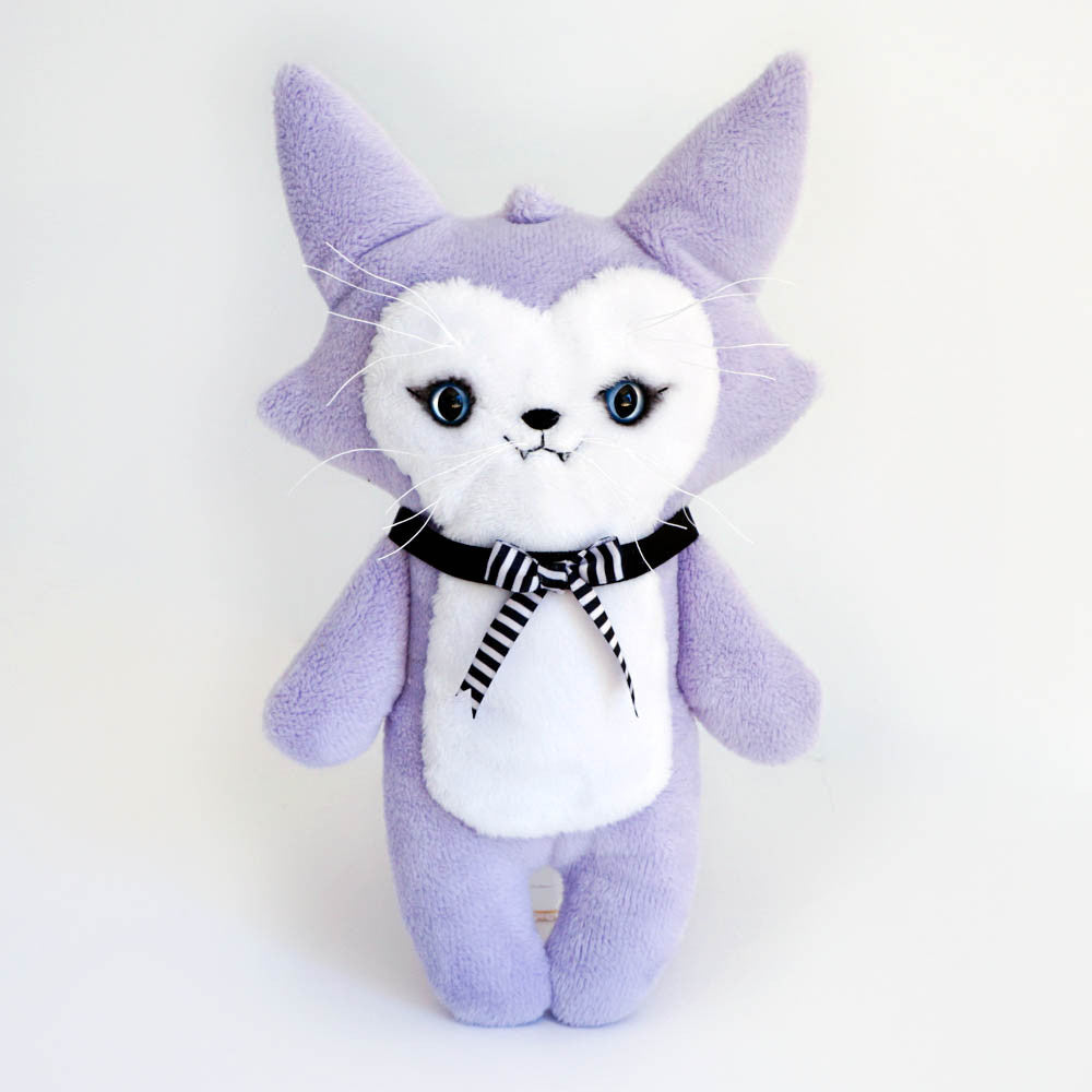 Trouble Cat Plush Toy with ribbons tie and eyeshadow