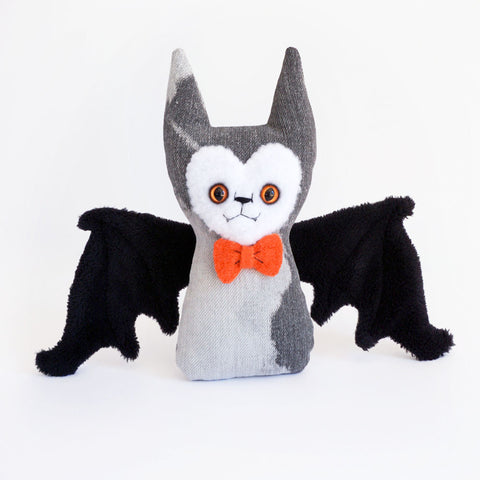 Stuffy Bat - orange wool bow tie