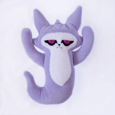Large Ghost Cat -purple with pink felt eyes