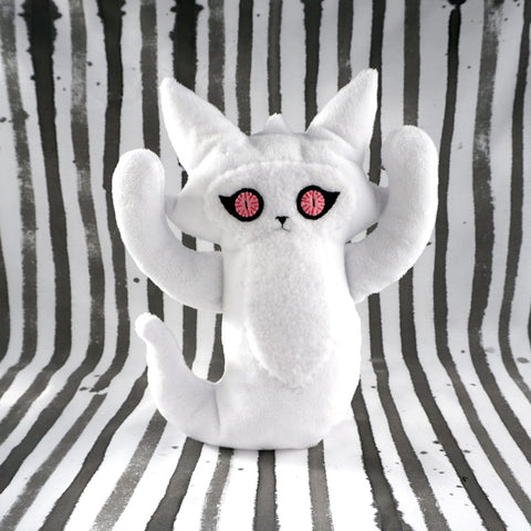 Large Ghost Cat - white with pink felt eyes