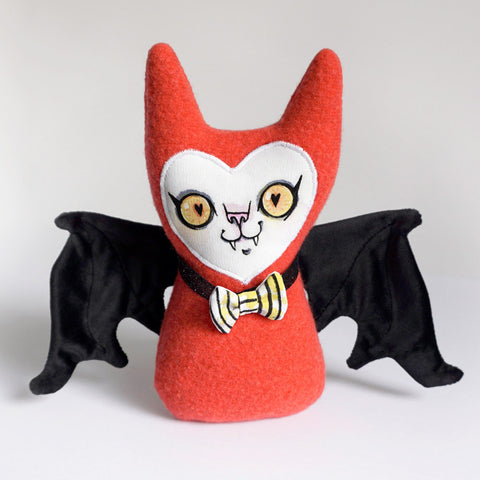 Stuffy Bat - Orange wool heart eyes