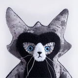 Trouble Cat Plush Toy made from hand painted fabric -blue eyes