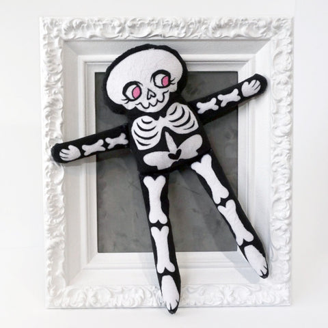 Illustrated Skeleton Doll - made from soft minky fabric comes in PINK and BLACK