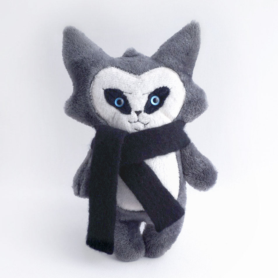 Trouble Cat Plush Toy with wool scarf