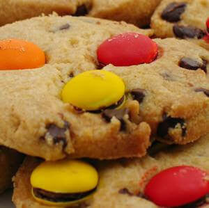 chocolate chips cookies with M&Ms baked in