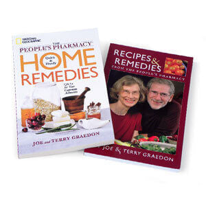 Two books from the People's Pharmacy: Quick and Handy Home Remedies + Recipes and Remedies.