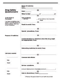 Drug Safety Questionnaire + Medical History