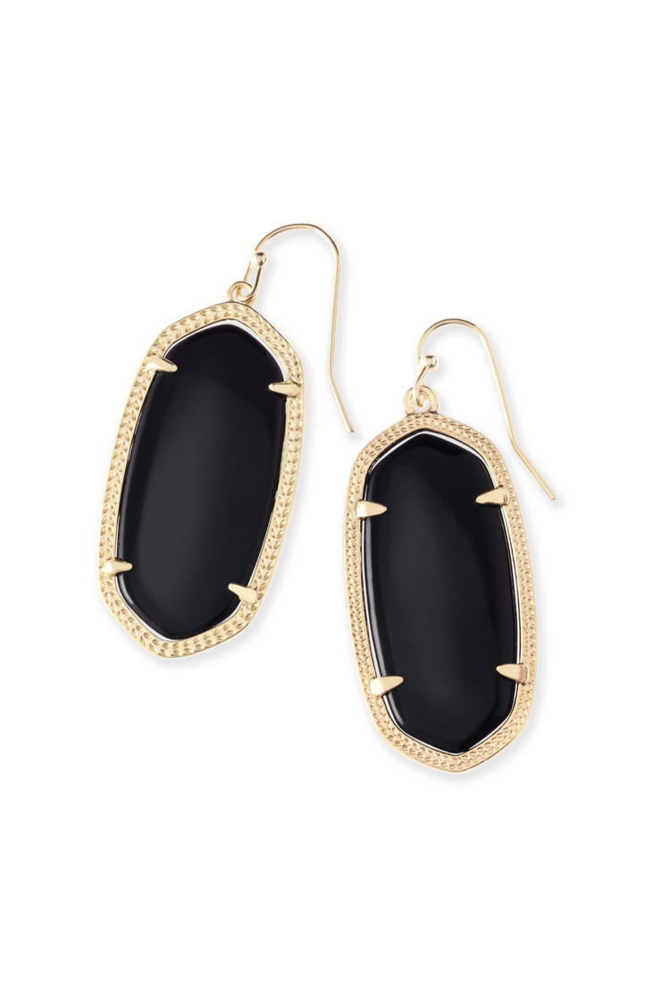 Elle Gold Drop Earrings In Black Opaque Glass - Kendra Scott