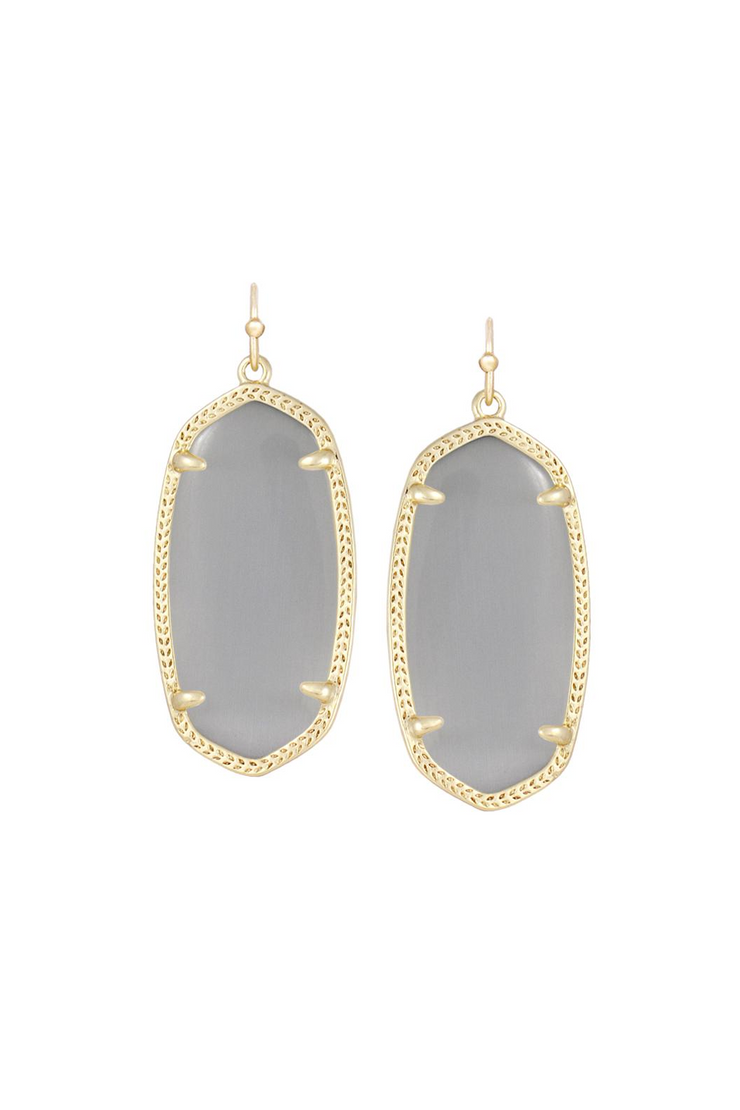Elle Gold Drop Earrings In Slate Cats Eye - Kendra Scott