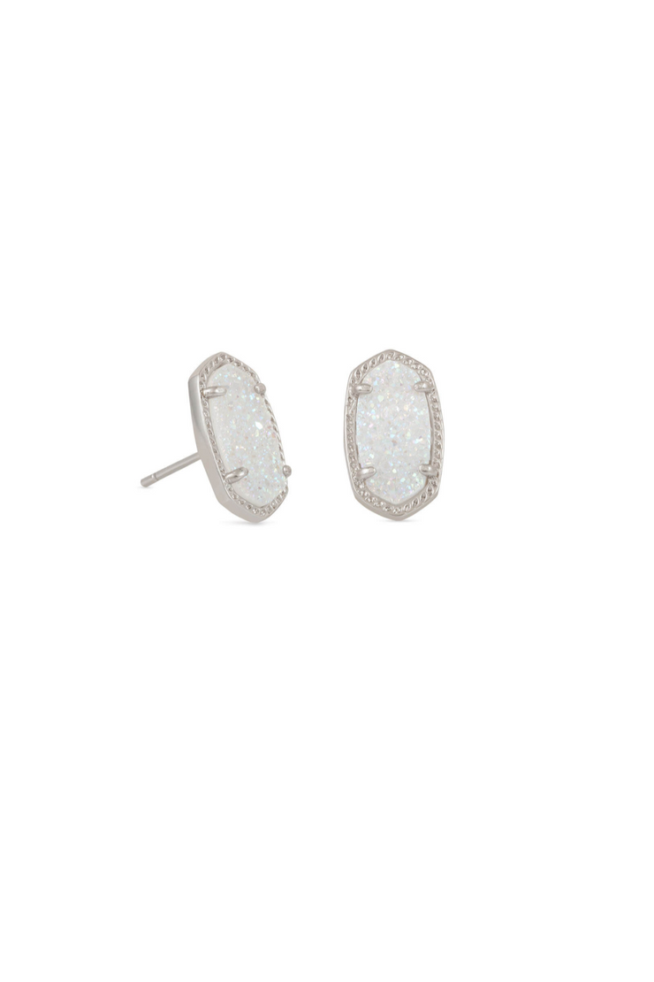 Ellie Silver Stud Earrings In Iridescent Drusy - Kendra Scott