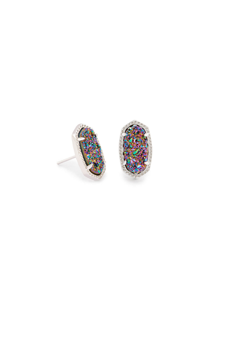 Ellie Silver Stud Earrings In Multicolor Drusy - Kendra Scott