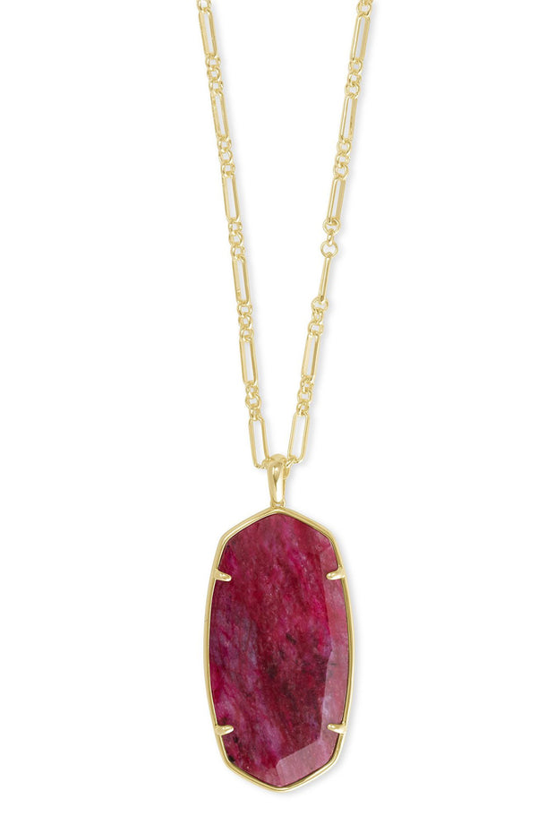 Faceted Reid Gold Long Pendant Necklace In Raspberry Labradorite - Kendra Scott