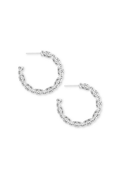"Maggie Small 1.5"" Hoop Earrings In Silver Filigree - Kendra Scott"
