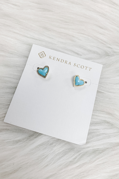 Ari Heart Gold Stud Earrings In Blue Magnesite - Kendra Scott