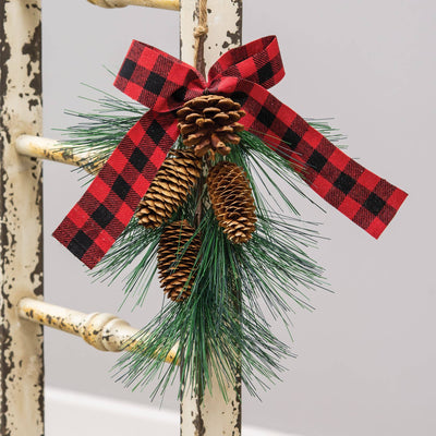 Hanging Pine Spray with Buffalo Check Bow