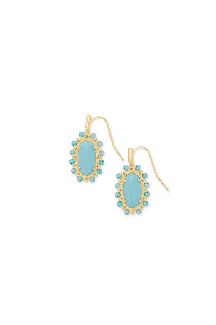 Beaded Lee Gold Drop Earrings In Light Blue Magnesite - Kendra Scott