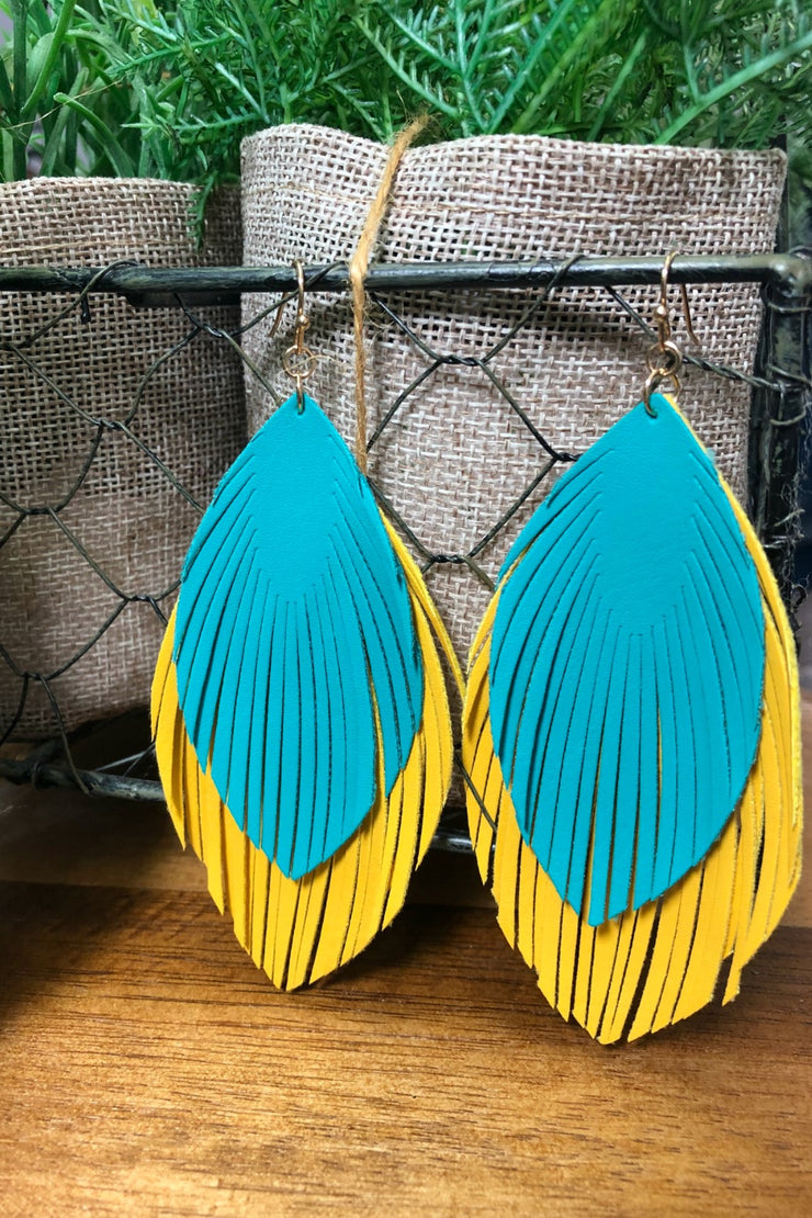 Yellow Feather Fringe Earrings