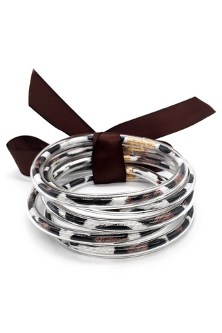 Jelly Tube Bangle - Brown Leopard