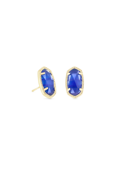 Ellie Gold Stud Earrings In Cobalt Cats Eye - Kendra Scott