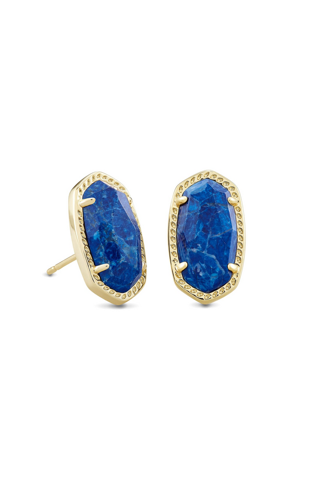 Ellie Gold Stud Earrings In Cobalt Howlite - Kendra Scott