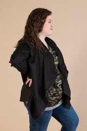 Faux Suede Jacket - BLACK *FINAL SALE*