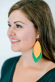 Green Feather Fringe Earrings