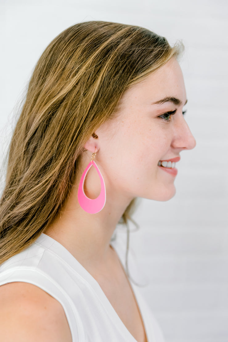 Pink Cut Out Teardrop Earrings