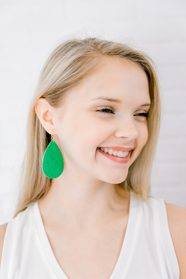Lime Green Teardrop Drop Earrings