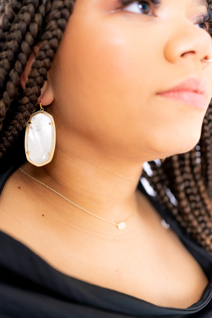 Faceted Danielle Gold Statement Earrings In Ivory Mother-Of-Pearl - Kendra Scott