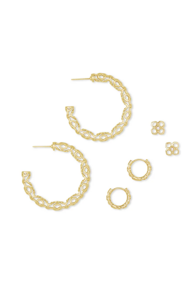 Maggie Small Hoops, Maggie Huggies, & Rue Studs Gift Set In Gold - Kendra Scott