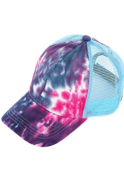 Navy Tie Dye Cap - Pony Tail Cap