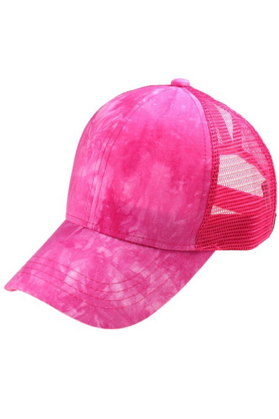 Hot Pink Tie Dye Cap - Pony Tail Cap