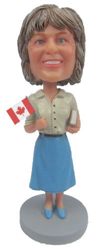 Female Waving Flag Bobblehead