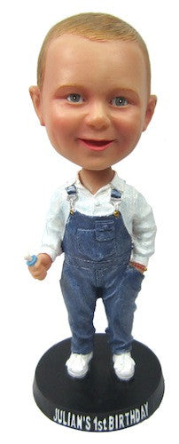 Child in Denim Overalls