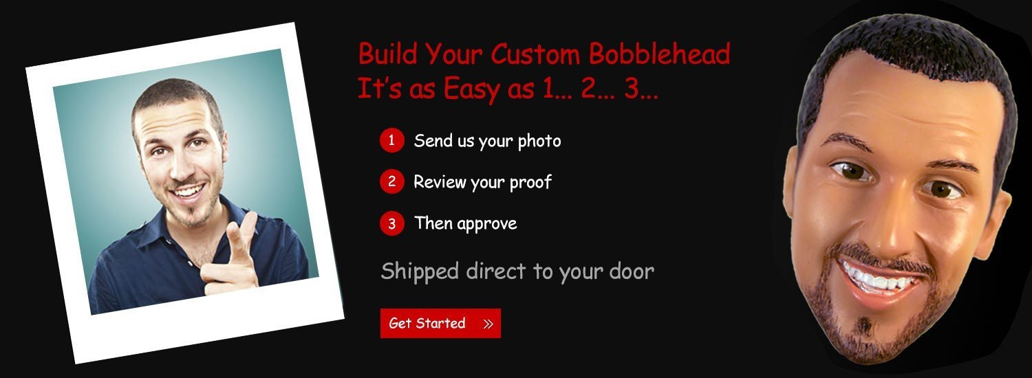 Build Your Custom Bobblehead. It's as easy as 1-2-3