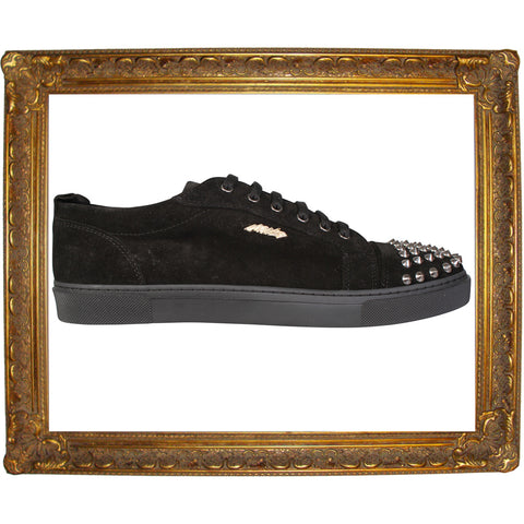 Black Suede Low Silver Studded Sneaker
