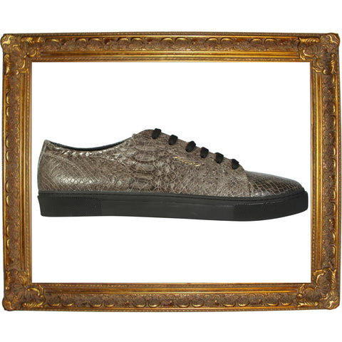Grey Faux Snake Skin Animal  Low Sneaker