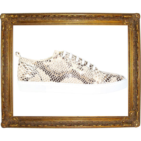 Gold Brown Full Snake Skin Animal Low Sneaker