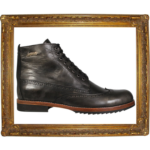 Black Brogue High Lace-Up Boots