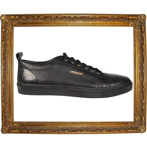 Black Snake Skin Cap Toe Animal Low Sneakers