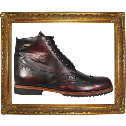 Burgundy Brogue Lace-Up High Boots