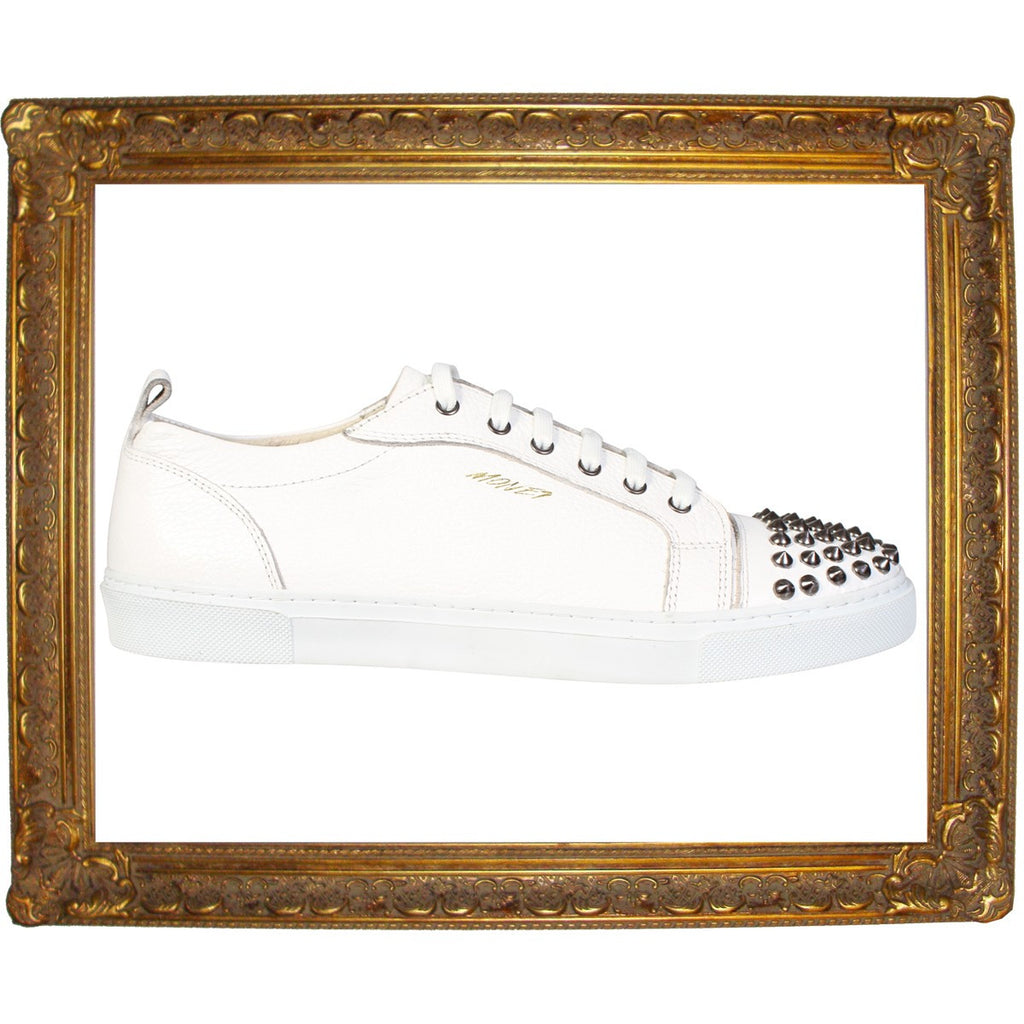 White Silver Studded Cap Toe Low Sneakers