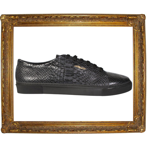 Black Full Snake Skin Animal Low Sneakers