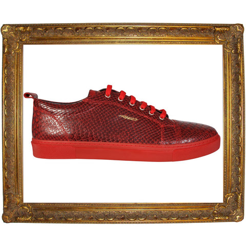 Red Full Snake Skin Animal Low Sneaker