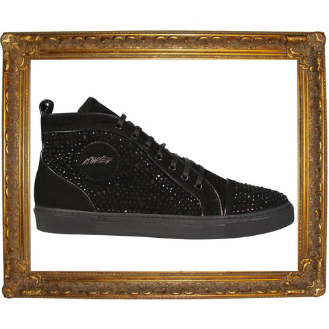 Suede Sneaker Bling Jewel Studded High Sneaker