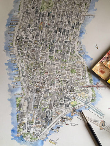 Huge NYC Map Drawing Hand Embellished By Blue Logan