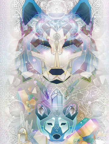 Crystalline Wolf Totem By Mugwort (Canvas Stretched)