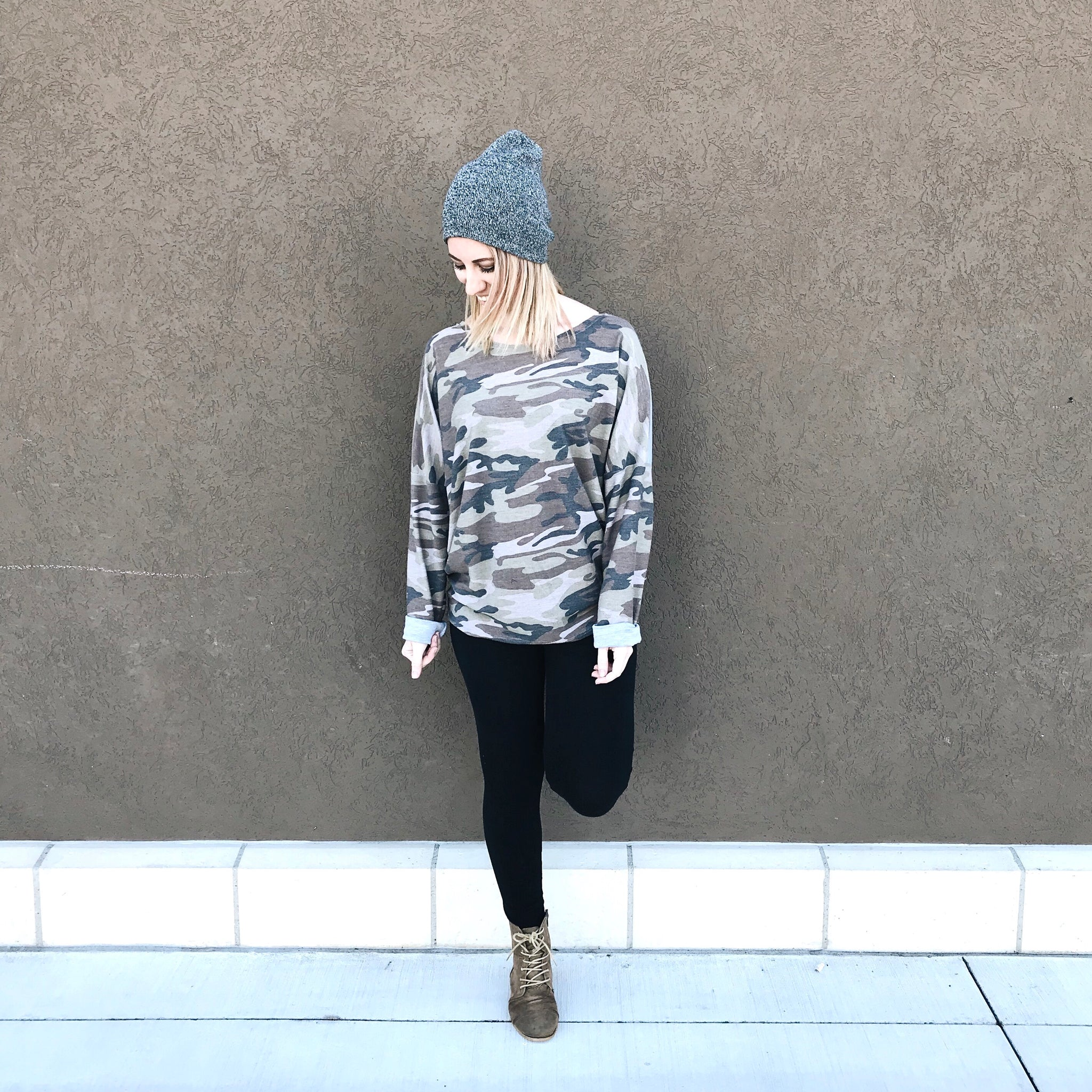 Women's slouch pullover in Camo