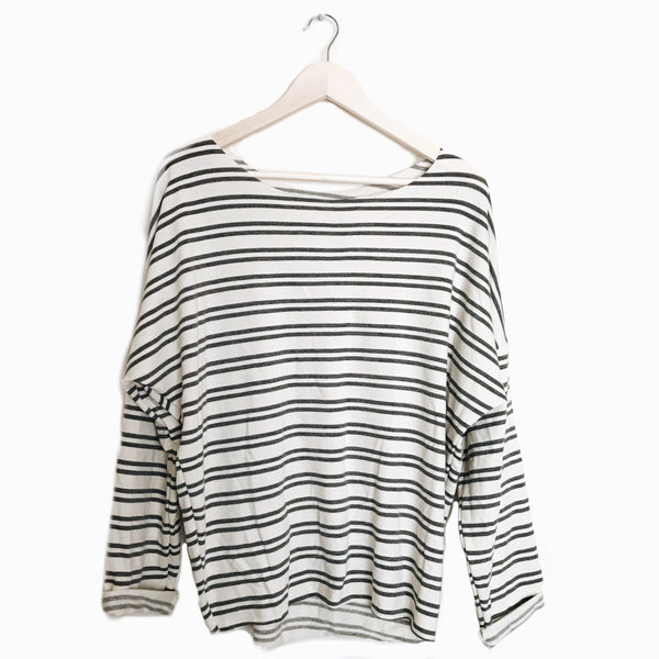Slouch Pullover in Ash Stripe